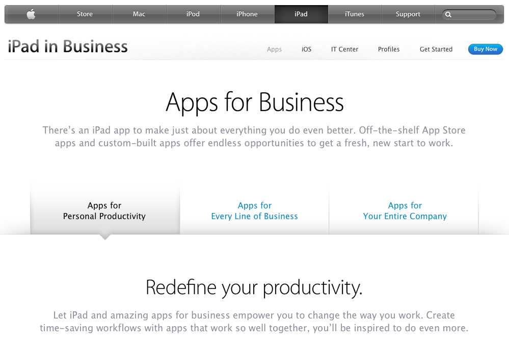 iPad in Business website