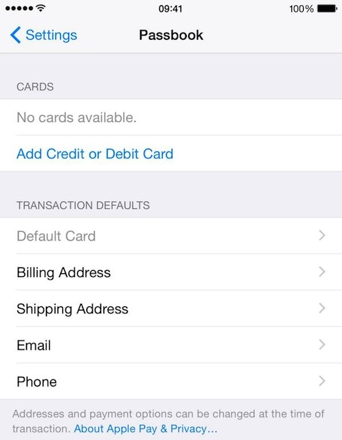 apple pay settings ios 8 1