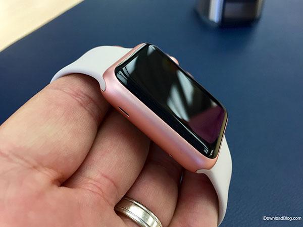 Rose Gold Aluminum Apple Watch Hands on 9
