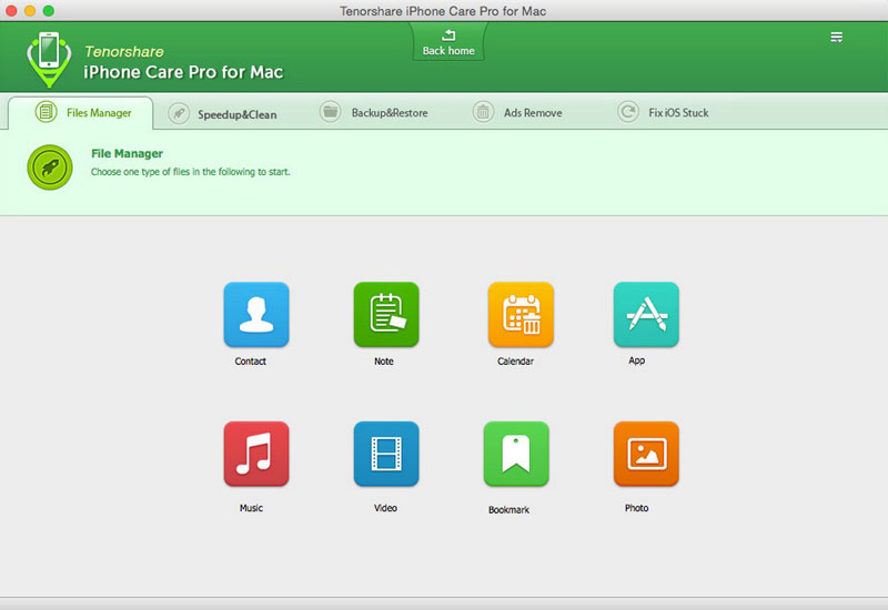 tenorshare iphone care pro for mac files manager