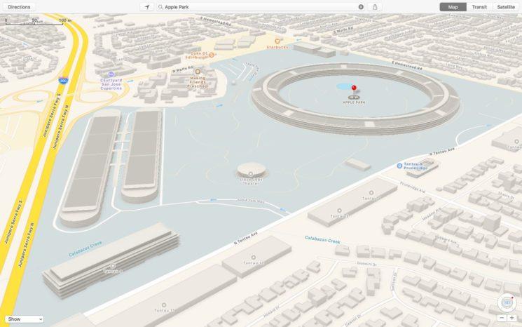Apple Maps Apple Park 3D buildings