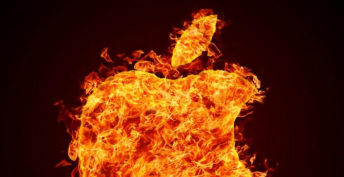 apple logo fire